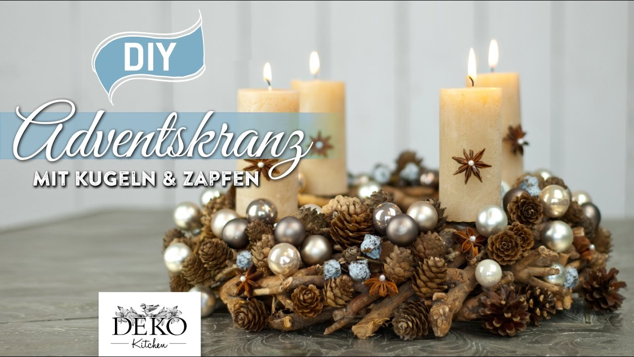 Diy h bscher adventskranz mit kugeln zapfen how to for Adventskranz selber machen youtube