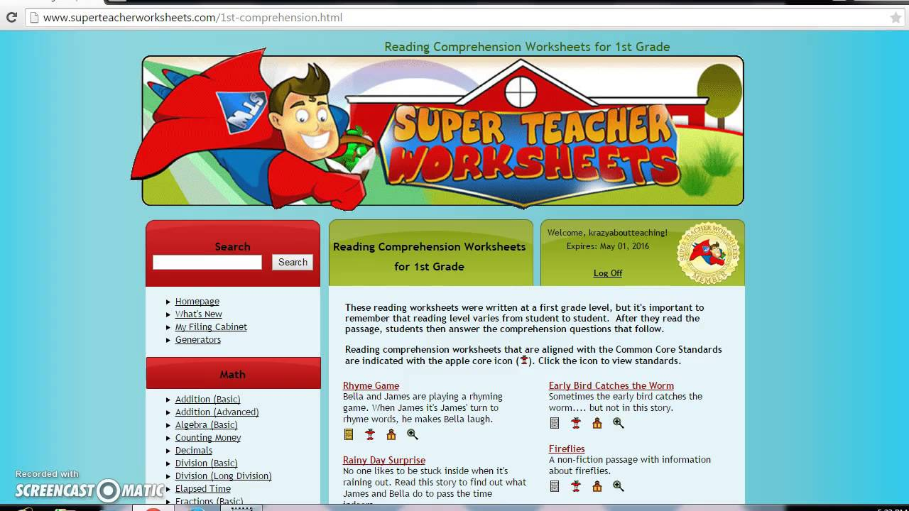 Check Out Super Teacher Worksheets