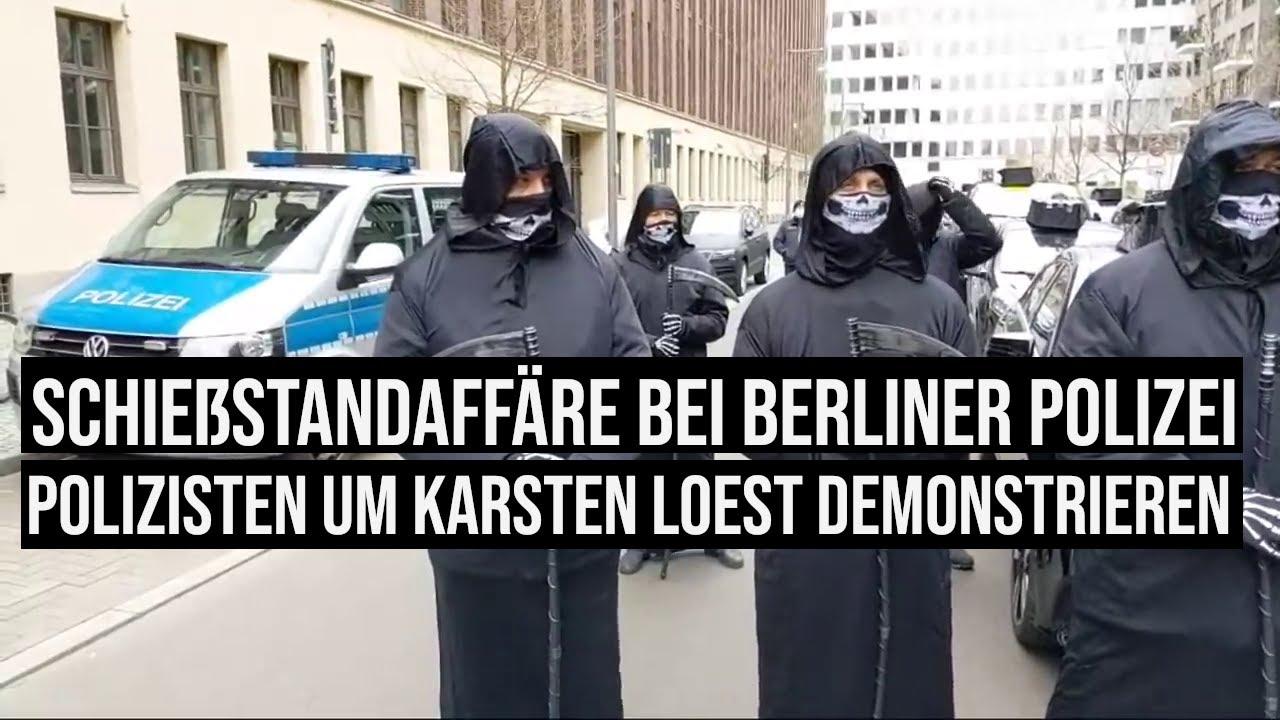 #Polizisten demonstrieren vor der Polizeiwache und vor dem Amtssitz von Innen Senator Andreas Geisel