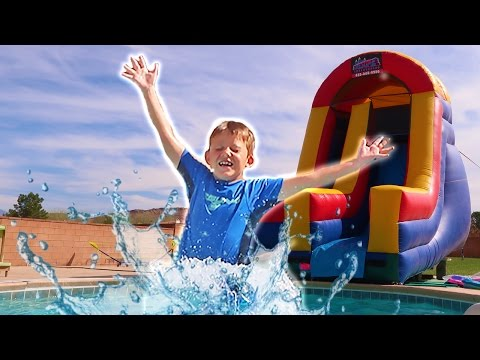 Giant Super Slide! Inflatable Slide Backyard Pool Party Playground!