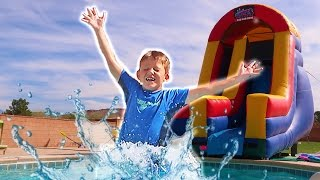 Kids Playtime at the Pool! Inflatable Slide Pool Party Playground! Bounce House Play Center Fun