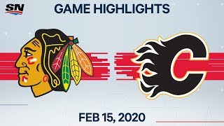 NHL Highlights | Blackhawks vs Flames - Feb. 15, 2020