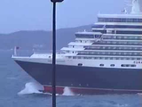 Queen Elizabeth cruise ship leaving A Coruña in rough sea