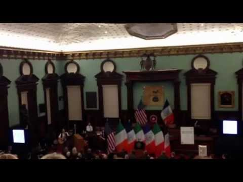 Cast of the Musical Once Sing at New York City Hall March 18, 2013