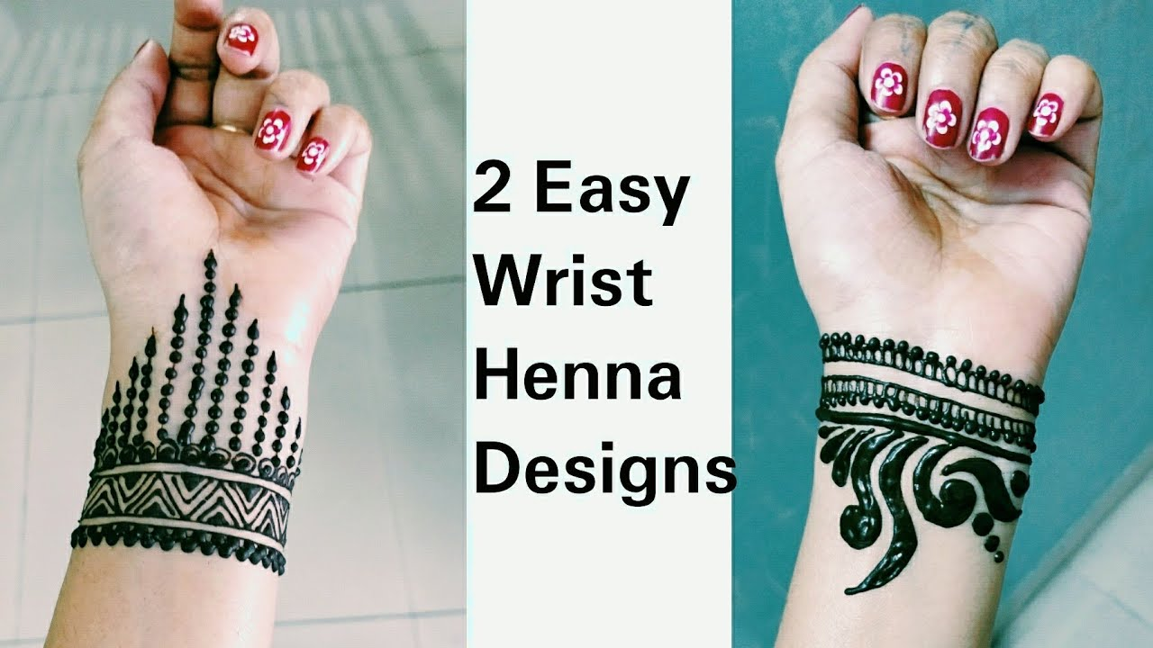 Henna Wrist Designs: 2 Easy Bracelet Henna Design / Latest Wrist Mehendi Design