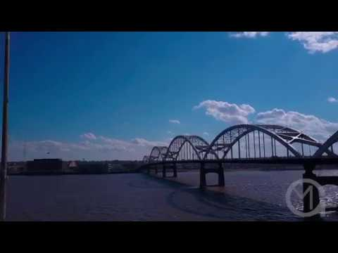 Centennial Bridge - Rock Island Illinois - Davenport Iowa - HD Stock Footage
