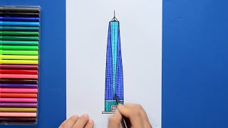 How to draw and color One World Trade Center, New York