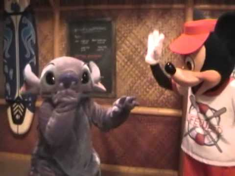 Mickey and Stitch Surfing At Disney's PCH Grill