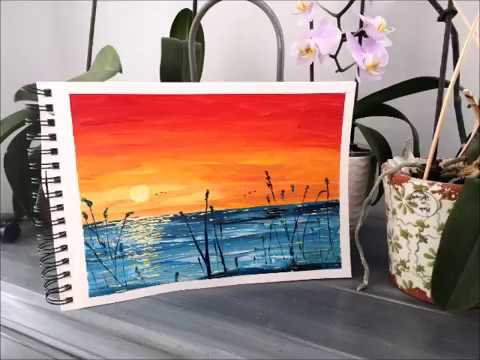 Peinture Acrylique Debutant Coucher De Soleil Peinture Acrylique Facile Youtube