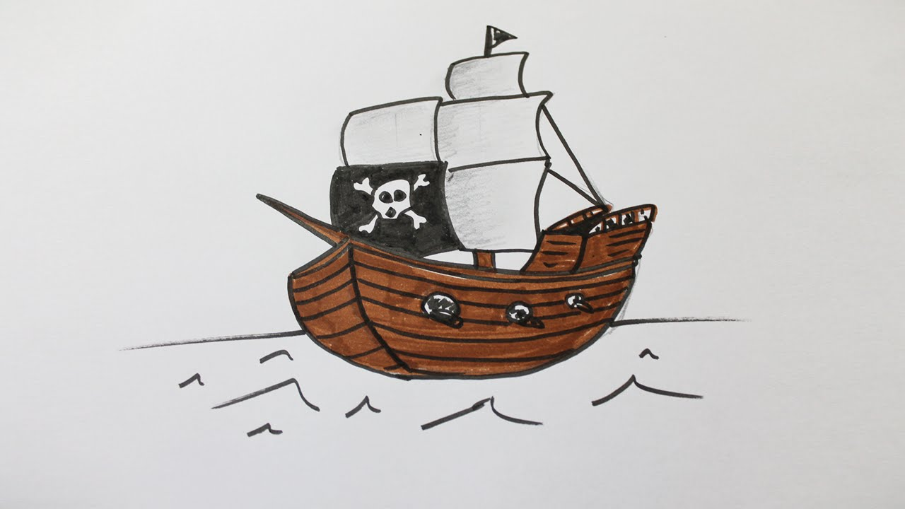 comment dessiner un bateau pirate youtube. Black Bedroom Furniture Sets. Home Design Ideas