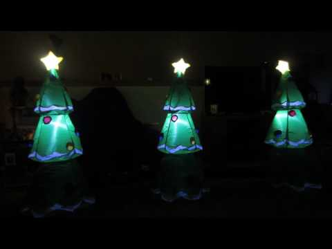 Gemmy airblown musical synchronized light show Christmas trees