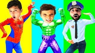 wrong superheroes puzzle | assemble the hero puzzle with hulk spider man and police