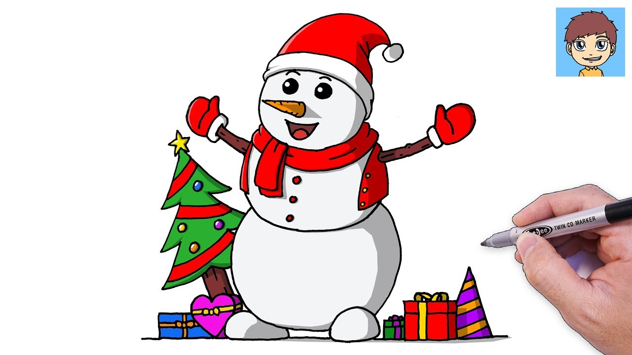 Comment Dessiner Un Bonhomme De Neige Facilement Dessin Facile A Faire Dessin Noel Youtube