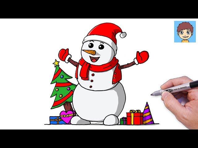 Video Comment Dessiner Un Bonhomme De Neige Facilement Dessin Facile A Faire Dessin Noel