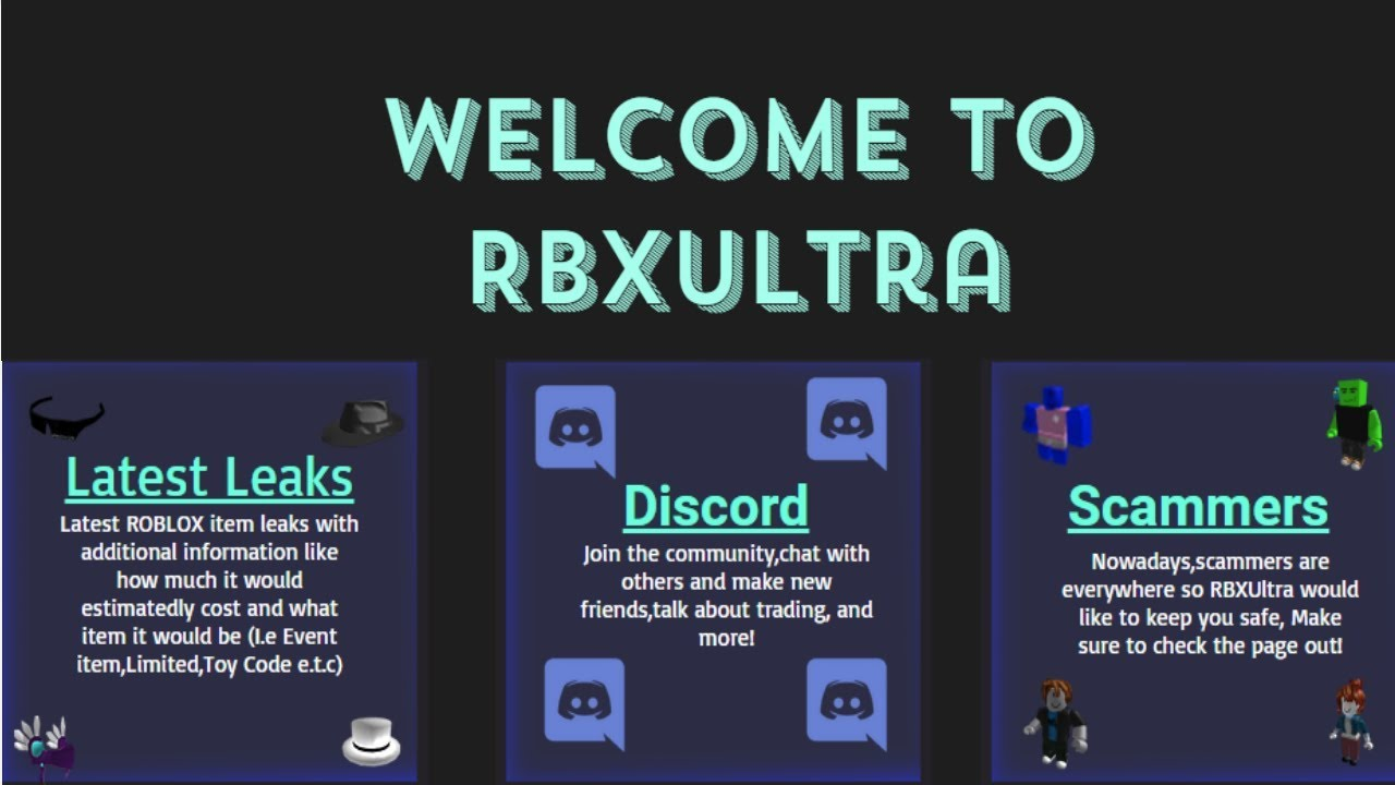 NEW ROBLOX LEAKS/SCAMMER REPORT WEBSITE (RbxUltra)