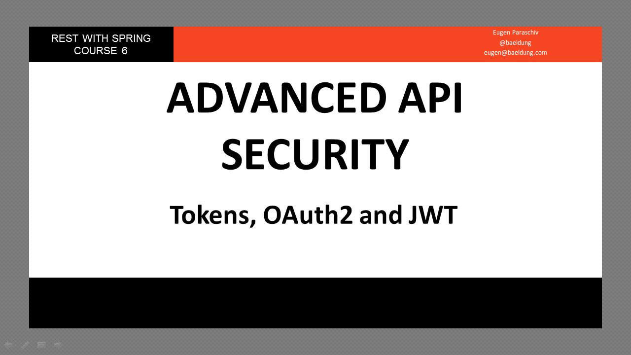 Tokens, OAuth2 and JWT in a Spring API (RWS - Module 6 - Lesson 3)