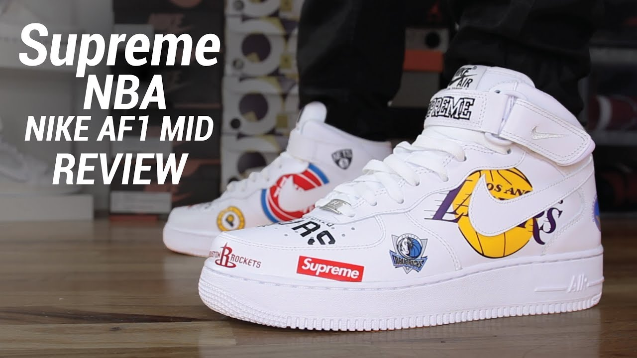 SUPREME NBA NIKE AIR FORCE 1 MID REVIEW - YouTube