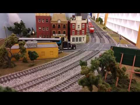 Frisco fast freight on the Oklahoma Model Railroad Association club layout.