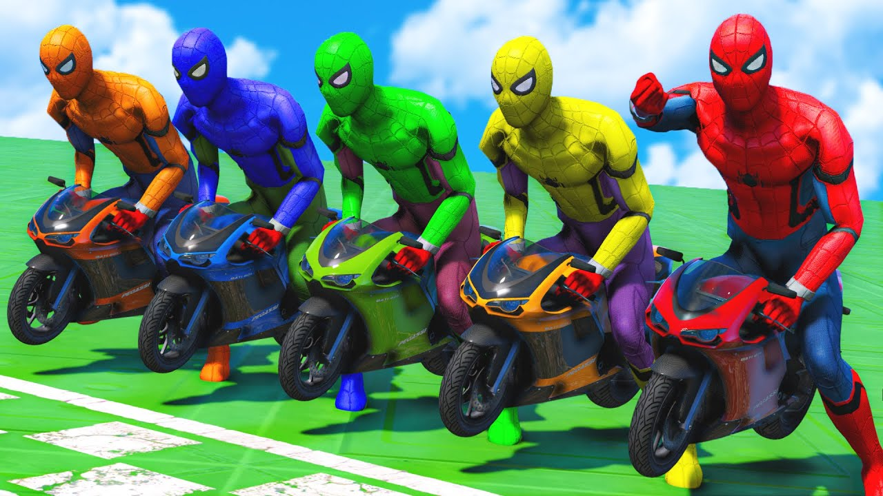 Download SPIDERMAN TEAM Racing Minibike Event Day Competition Challenge #8 (Funny Contest) - GTA V Mods