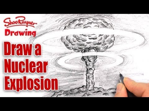 How to draw a Nuclear Explosion - Mushroom Cloud - spoken tu