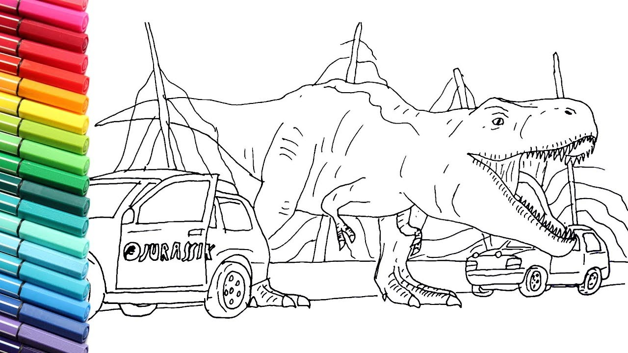 Drawing and Coloring T-Rex Escape From Jurassic Pack - Dinosaurs Color  Pages for Kids