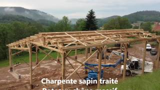 montage d'un bâtiment agricole bois Roiné