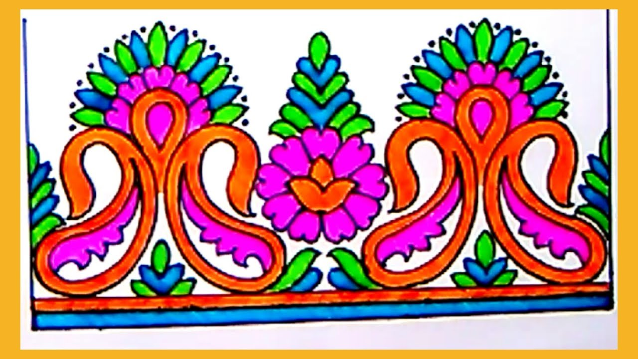 Draw Saree Border For New Embroidery Designs Pencil Sketch Designs