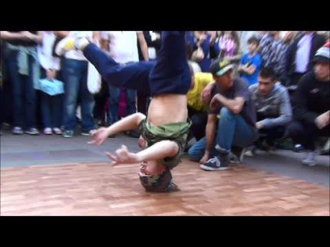 Breakdance Show in Arbat Street, Moscow, Russia. Street Performers