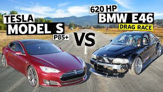 Electric vs. V8! Tesla Model S Races a LS Swapped BMW E46 // This vs. That