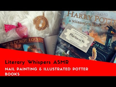 [ASMR] Nail Painting & Illustrated Harry Potters (Page Turning, Whisper, Tapping)