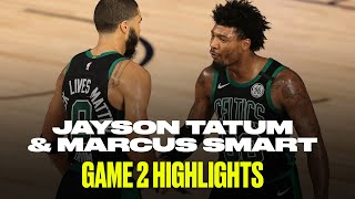 Jayson tatum (34 pts, 8 reb, 6 ast) and marcus smart (19 6/11 3pt) helped close out the toronto raptors in game 2 to take a 2-0 series lead. subscribe: ...
