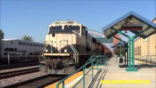 RARE!! BNSF SD70MAC leads a power move through Riverside-Downtown metrolink