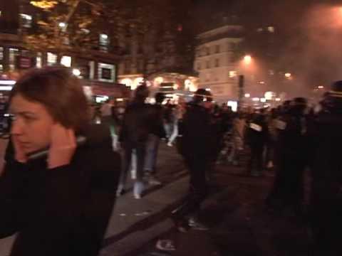 Fans in France celebrate Algeria's win