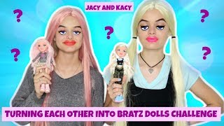 Turning Each Other Into Bratz Dolls ~ Makeup Challenge ~ Jacy and Kacy