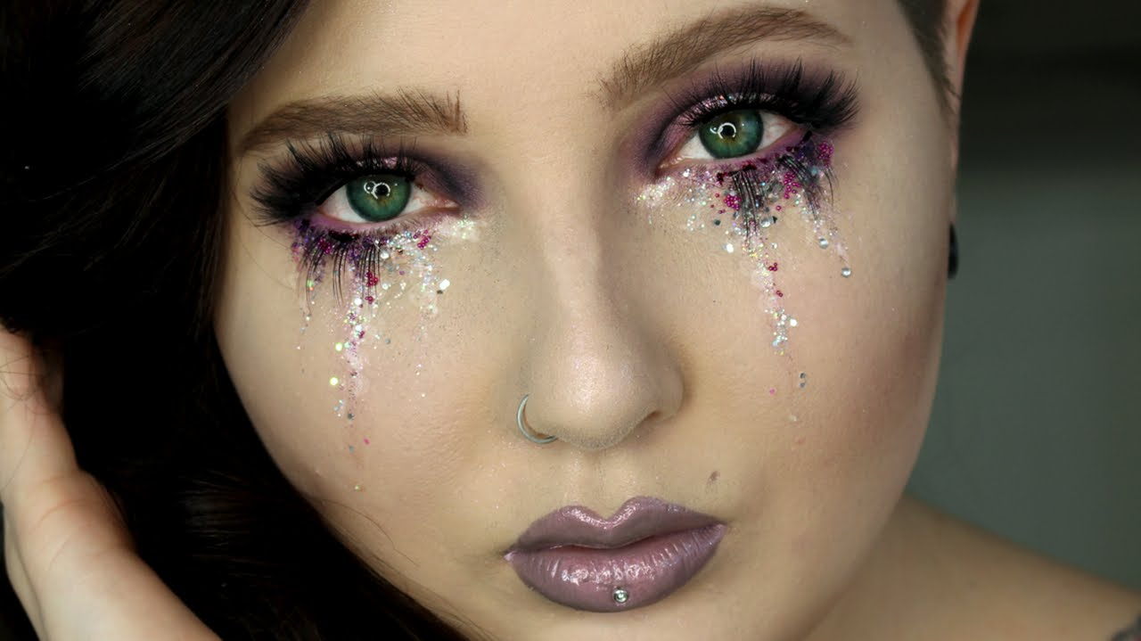 Glitter Tears Eye Makeup Tutorial | Jordan Hanz - YouTube