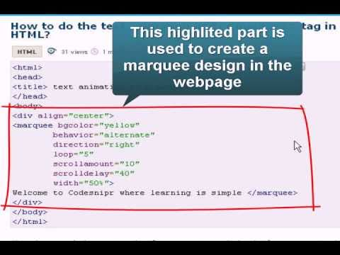 Html Tutorial: text animation with marquee tag - YouTube