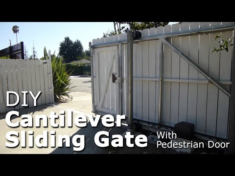 DIY cantilever sliding gate with pedestrian door, galvanized steel pipe framing