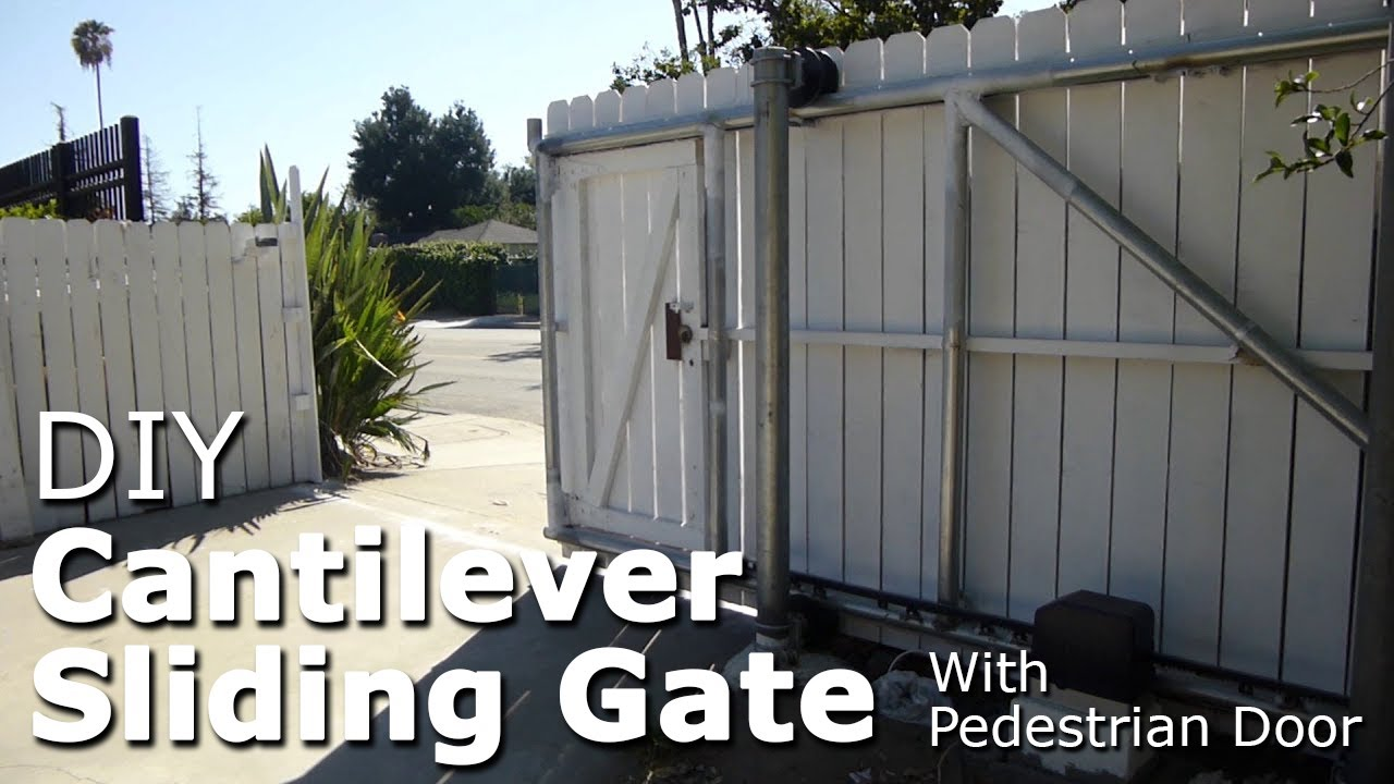 Exceptionnel DIY Cantilever Sliding Gate With Pedestrian Door, Galvanized Steel Pipe  Framing   YouTube