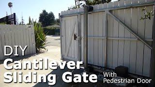 diy cantilever sliding gate with pedestrian door galvanized steel pipe framing