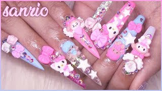 Fast & Easy 3D Nail Art Tutorial | Sanrio Hello Kitty, MyMelody, Little Twin Stars