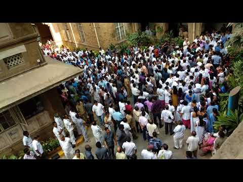 Protest by KEM Hospital Employees Opposing Biometric Attendance System