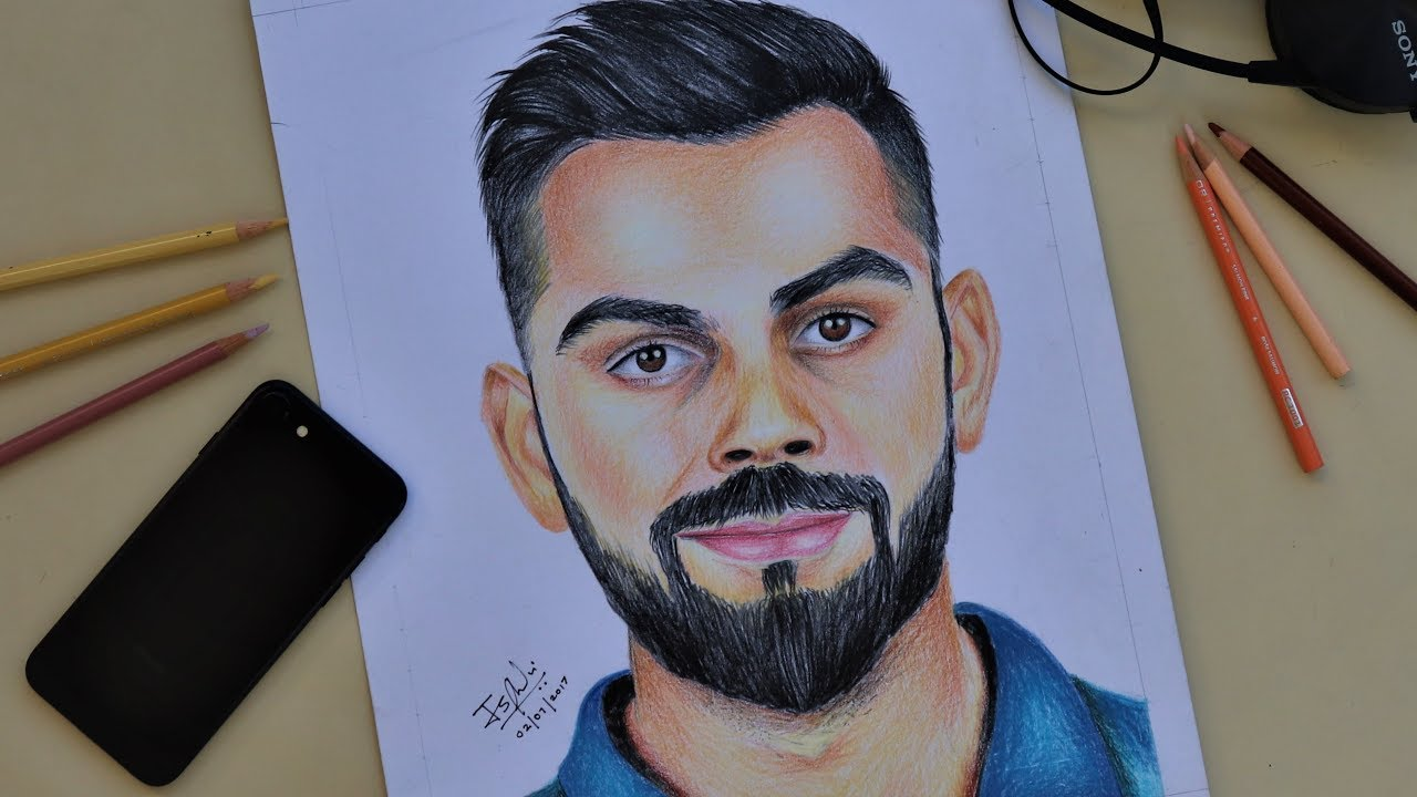 Virat Kohli Drawings Coloured