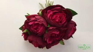 Yapay Çiçek Şakayık Gül Buketi Kırmızı