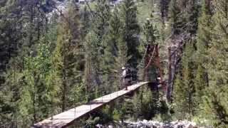 Josh Crossing The Rickety Suspension Bridge Over Wood's Creek On The Pct