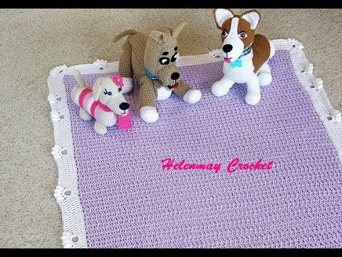 Helenmay Crochet Dogs Leave Paw Prints On Your Heart Blanket Border DIY Video Tutorial