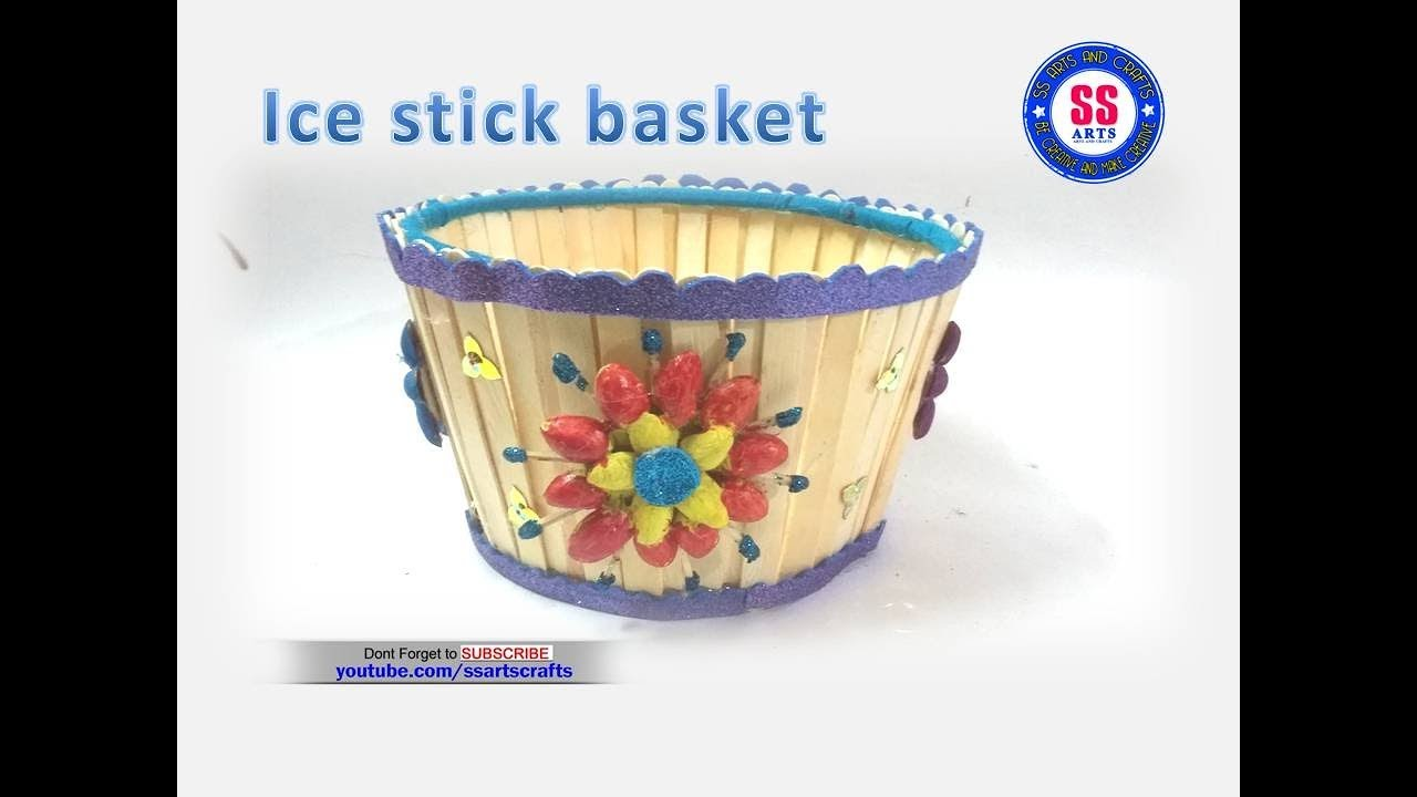 easy ice cream stick basket diy idea with popsicle stick kids crafts ssarts crafts