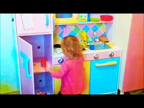 Kid Plays With Toy Kitchen Kids Educational Toys Pretend Role Play