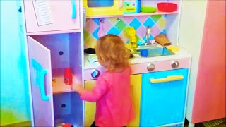 Kid Plays With Toy Kitchen Kids Educational Toys Pretend Role Play Toy Kitchen