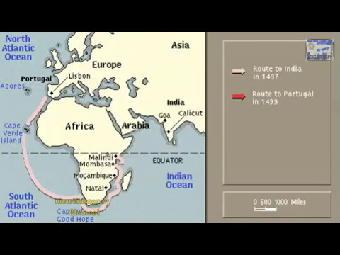 ROUTE OF VASCO DA GAMA ANIMATION ON A MAP YouTube - Portugal india map