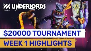 WEEK 1 HIGHLIGHTS! North America $20000 Dota Underlords Tournament! #Sponsored